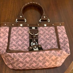 Juicy Couture pink & brown leather tote
